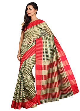 Green N Beige Blended Cotton Checkered Saree