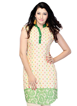 Green N Beige Blended Cotton Short Kurti