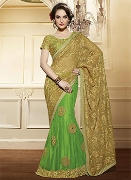 Green N Beige Net Lehenga Saree