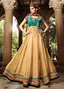 Green N Beige Side Slit Ankle Length Anarkali
