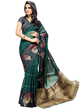 Green N Black Brasso Patterned Saree