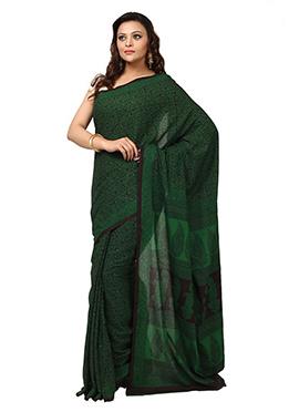 Green N Black Cotton Printed Saree