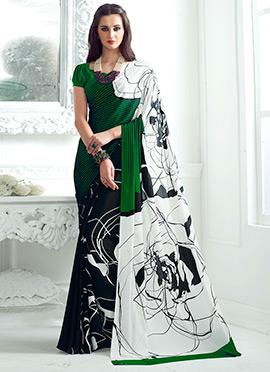 Green N Black Crepe Silk Saree