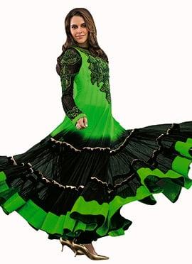 Green N Black Georgette Anarkali Suit