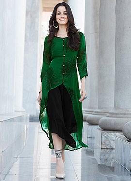 Green N Black Georgette Knee Length Kurti