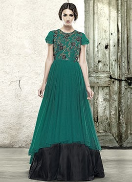 Green N Black Net Embroidered Layered Gown