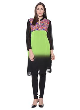 Green N Black Ombre Georgette Kurti
