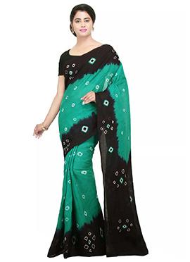 Green N Black Printed Saree