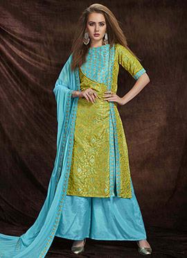 Green N Blue Art Benarasi Silk Palazzo Suit