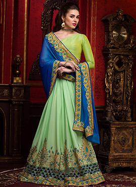 Green N Blue Chiffon Half N Half Saree