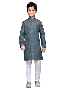 Green N Blue Dual Toned Cotton Boys Kurta Pyjama