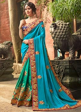 20b283f0605 Green N Blue Embroidered Half N Half Saree