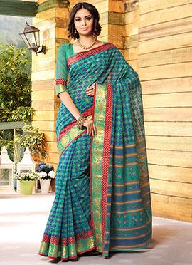 Green N Blue Gadwal Silk Printed Shells Designed Saree