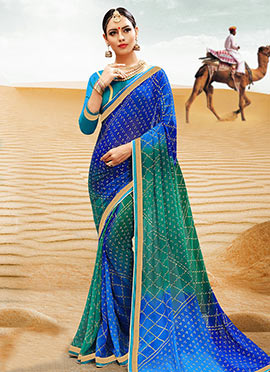 Green N Blue Georgette Bandhini Saree