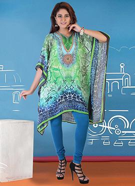Green N Blue Georgette Kaftan