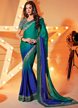 Green N Blue Crep Fabric Saree