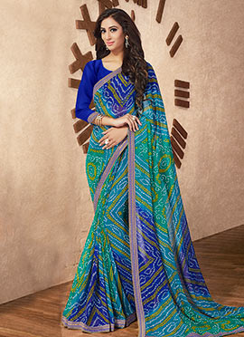 Green N Blue Georgette Saree
