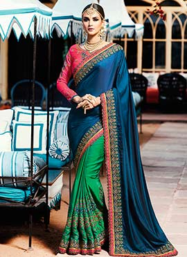 Green N Blue Half N Half Saree