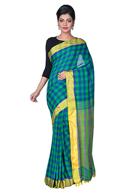 Green N Blue Handloom Cotton Tant Saree