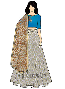 Green N Blue Mark Georgette Umbrella Lehenga