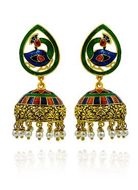 Green N Blue Meenakari Jhumka Earring