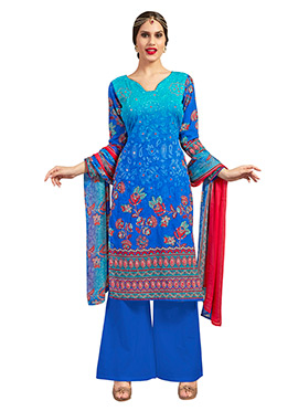 Green N Blue Ombre Blended Cotton Palazzo Suit