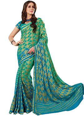 Green N Blue Ombre Crepe Silk Saree