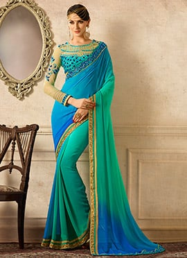 Green N Blue Ombre Georgette Saree
