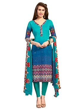 Green N Blue Ombre Printed Churidar Suit