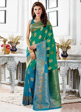 Green N Blue Ombre Tussar Silk Zari Weaved Saree