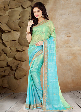 Green N Blue Pure Georgette Saree