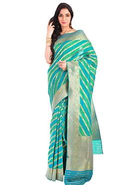 Green N Blue Pure Handloom Benarasi Silk Saree