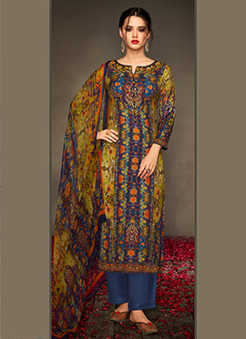 Green N Blue Viscose Palazzo Suit
