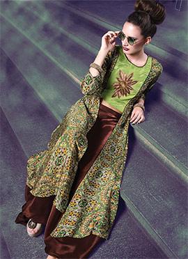 Green N Brown Art Silk Skirt Set