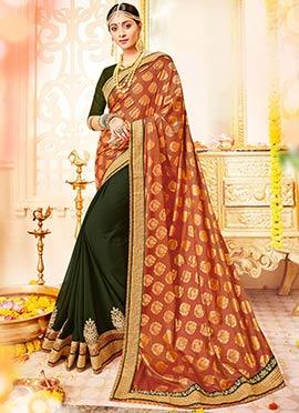 Green N Brown Half N Half Saree