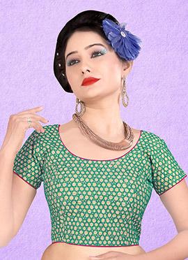 Green N Cream Art Silk Blouse