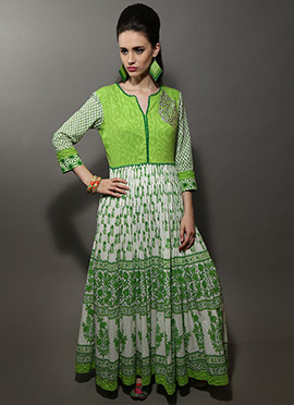 Green N Off White Cotton Embroidered Kurti