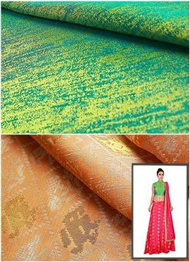 Green N Cream Skirt N Crop Top