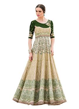 Green N Cream Pure Silk Anarkali Gown