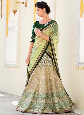 Green N Cream Pure Silk A Line Lehenga