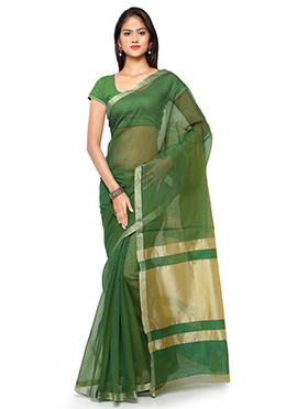 Green N Gold Blended Cotton Saree