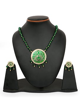 Green N Gold Colored Beads Studded Necklace Set