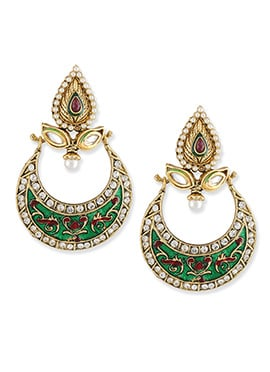 Green N Gold Colored Chand Bali Earrings