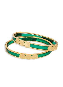 Green N Golden Colored Bangles