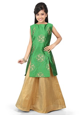 Green N Golden Kids Art Dupion Silk Skirt Set