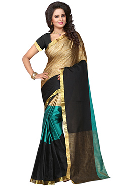 Green N Golden Polyester Saree