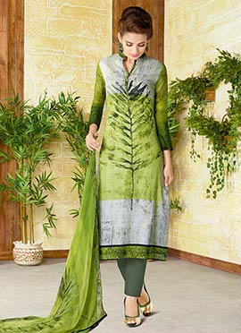 Green N Grey Cotton Straight Suit