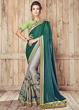 Green N Grey Half N Half Saree