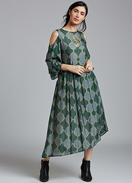 Green N Grey Muslin Dress