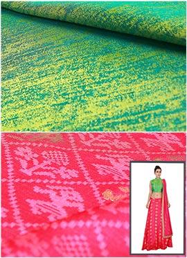 Green N Light Pink Skirt N Crop Top